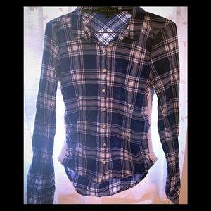 Derek Heart Royal Blue & White Plaid Shirt Size Sm